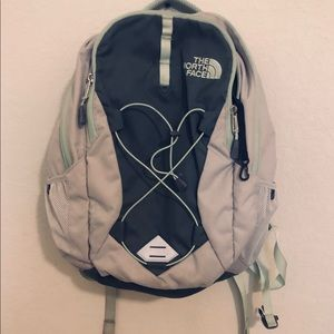 Northface Jester Backpack; Grey, White, & Mint